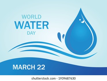 World water day banner or poster vector isolated. March 22 international water day.