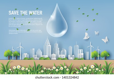 World water day concept, water drop with tree and city, paper art and craft style, flat-style vector illustration.