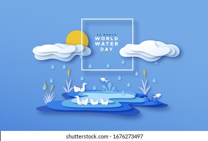 World Water day greeting card illustration of paper cut nature landscape with lake and rain clouds for clean environment campaign concept. Papercut craft wildlife scene in 3d layered papers style.