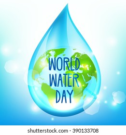 World Water Day on blue background.Vector