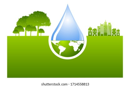 World Water Day.  Save Nature Stock Vector Concept