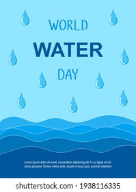 World Water Day vector banner. Waves and drops on the blue background.