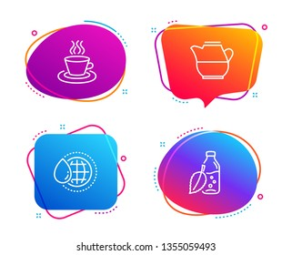 World water, Milk jug and Tea cup icons simple set. Water bottle sign. Aqua drop, Fresh drink, Coffee mug. Mint leaf drink. Food and drink set. Speech bubble world water icon. Vector