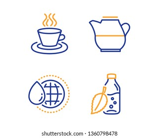 World water, Milk jug and Tea cup icons simple set. Water bottle sign. Aqua drop, Fresh drink, Coffee mug. Mint leaf drink. Food and drink set. Linear world water icon. Colorful design set. Vector