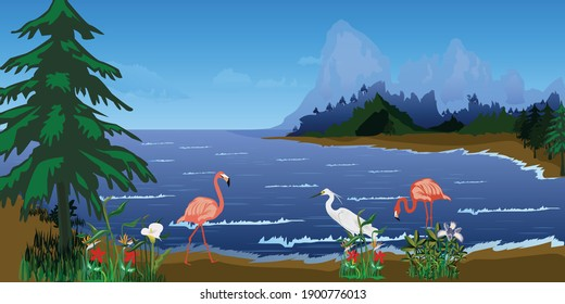 World wetlands day vector illustration, with lake, mountains, trees, flamingos, egret and other plants and flowers.