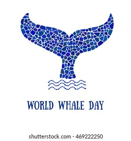 World Whale day poster. Mosaic whale tale logo. Design element for poster, banner.