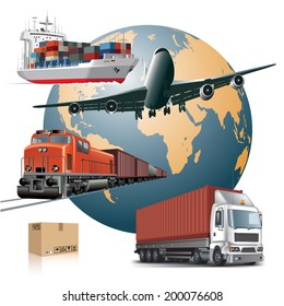 World wide cargo transport concept. Vector illustration