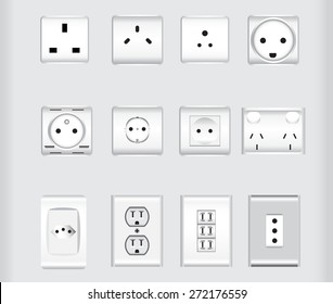 world wide electric plug sockets vector illustrations