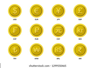 World wide money gold coin icon. Vector illustration image