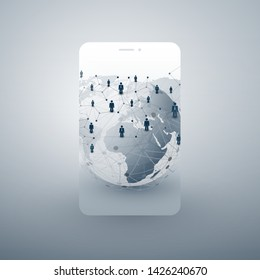World Wide Networks - Modern Style Global Business Connections and Social Media Concept Design with Map, Earth Globe and Smartphone Silhouette