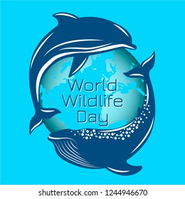 World Wildlife Day. The concept of an environmental event. Whale and dolphin on the background of the contours of the planet Earth