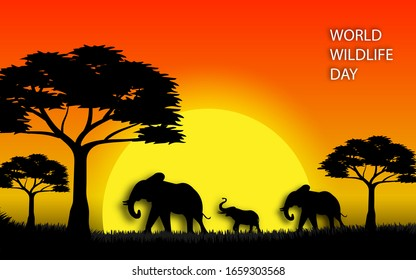 World wildlife day illustration in paper cut art style design with silhouette elephant sunset scene in africa, vector illustration