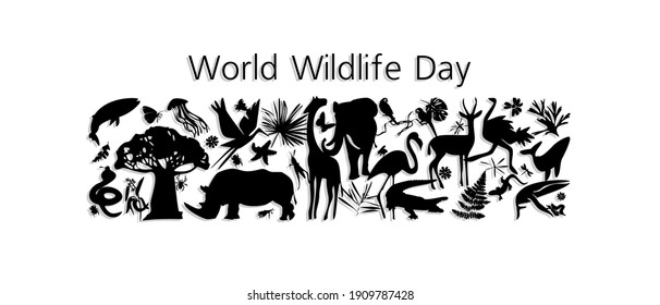 World Wildlife Day, March 3. Vector illustration for you design, card, banner, poster poster.  Animal silhouettes in black and white graphics.