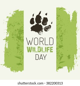 World wildlife day. Vector poster (banner or card template) with wolf footprint.