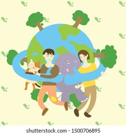 world wrap hands around people with love and care on the world ozone day