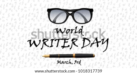 World writer day greeting card glasses stock vector royalty free world writer day greeting card with glasses pen m4hsunfo