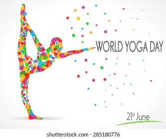 World Yoga Day vector illustration, white background - vector eps10