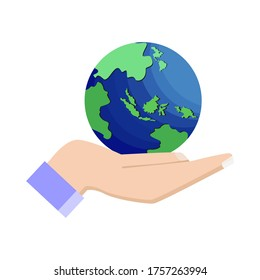 The world in your palm is drawing against a white background. Vector illustration