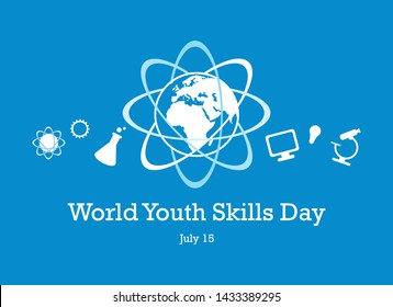 World Youth Skills Day vector. Human abilities illustration. White education icon set. Study simple icons set. Science symbols. World Youth Skills Day Poster, July 15. Important day