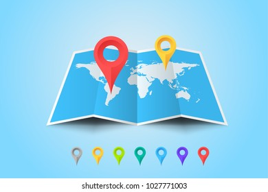 Worldmap With Set Of Multicolored Map Pointers. Vector Template For Your Modern Design.