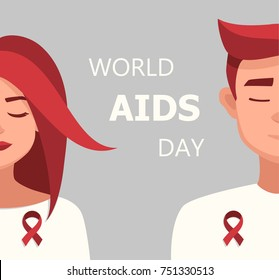 Worlds Aids day card 1 december. Vector cartoon Woman and Man Red Ribbon Worlds AIDS Day.vector illustration for the world day of fight against AIDS.Medical illustration.