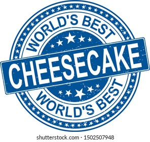 World's Best Authentic cheesecake Vintage Restaurant Stamp on white background