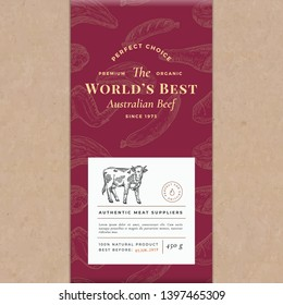 Worlds Best Beef Abstract Vector Craft Paper Vintage Cover Layout. Premium Meat Packaging Design Label. Hand Drawn Cow, Steak, Sausage, Wings and Legs Sketch Pattern Background. Isolated.