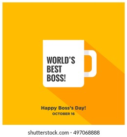 World's Best Boss Mug | Happy Day 16 October (Art in Flat Style Long Shadow Vector Illustration Icon Design)