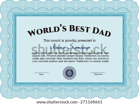 worlds best dad certificate award template stock vector royalty