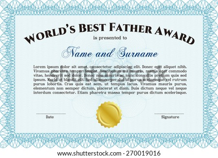 worlds best father certificate award sky stock vector royalty free