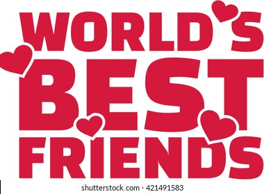 World's best friend text with hearts