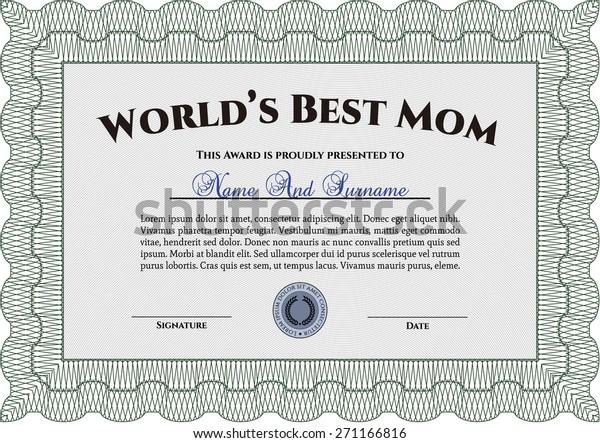 Worlds Best Mom Certificate Awards Template Stock Vector
