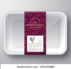 Worlds Best Poultry Abstract Vector Plastic Tray Container Cover. Premium Meat Packaging Design Label Layout. Hand Drawn Chicken, Steak, Sausage, Wings and Legs Sketch Pattern Background. Isolated.
