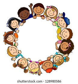 The world's children in a circle white background-single level-without the effects of transparency-EPS 8