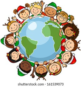 The world's children in a circle in the world with christmas clothes -single level-without the effects of transparency-EPS8