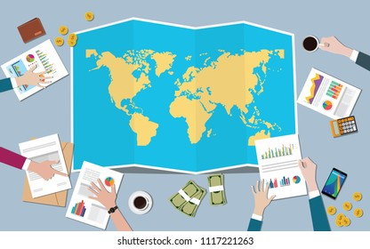 the worlds economy country growth nation team discuss with fold maps view from top vector illustration