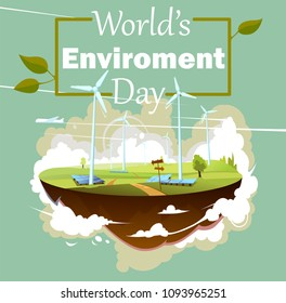 World's environment day vector illustration. Green landscape flying island with windmills and solar panels. Alternative energy generator.