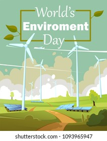 World's environment day vector illustration. Green landscape with windmills and solar panels. Alternative energy generator.
