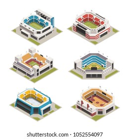 Worlds famous biggest sport competitions stadiums arenas and basketball court buildings isometric icons set isolated vector illustration