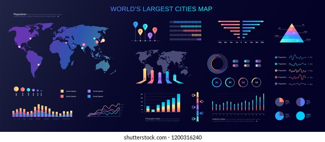 World`s largest cities humans population color gradient vector infographic set
