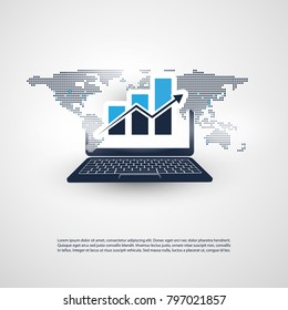 Worldwide Business and Financial Connections -  Concept Design with World Map, Laptop and Bar Chart, Vector Illustration