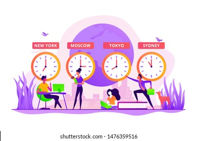 Worldwide business, international company branches. Clocks showing local timezone. Time zones, international time, world business time concept. Vector isolated concept creative illustration