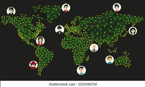 Worldwide communication. World map and humans
