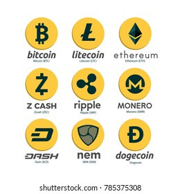 Worldwide crypto currency symbols set. Bitcoin, Litecoin, Ethereum, Zcash, Ripple, Monero, Dash, NEM, Dogecoin. Virtual currency. Crypto currency. New virtual money. EPS10 vector