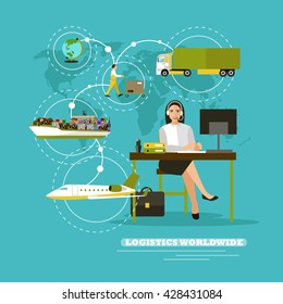 Worldwide delivery service company concept vector illustration. Operator control logistic and cargo transportation around the world, Sea ship, truck, air delivery.