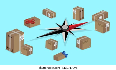 Worldwide delivery shipping service. Blue background with compas and boxes. Vector 3d design.
