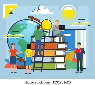 Worldwide, distance education concept. People stand near stack of big books and globe. Poster for social media, web page, banner, presentation. Flat design vector illustration