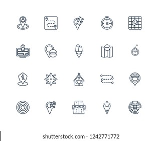 Worldwide, East, Toll road, GPS Location, Navigation trajectory, Locked Place, Remove from Map, Church, Human Marked Map Transports outline vector icons 20 set