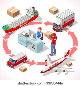 Worldwide Express Delivery Concept. Infographic 3D Flat Isometric People Icon Set. Complete Collection of Vehicle Fleet Truck Ship Airplane of Delivery Chain Office Desktop Vector Illustration