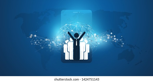 Worldwide Financial Connections - Successful Remote Business Management Concept Design with World Map, Network Mesh and Group of Happy Businessmen, Vector Illustration